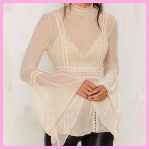 Nasty Gal Sheer Lace Bell Sleeve Top
